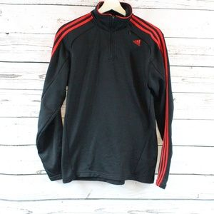 Adidas black and red long sleeve zip-up jacket